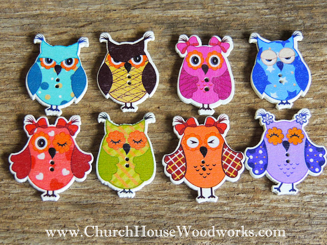DIY Sewing Owl Buttons by Church House Woodworks- Woodland, Animals, Blue Pink Brown Cute do it yourself wooden crafts button