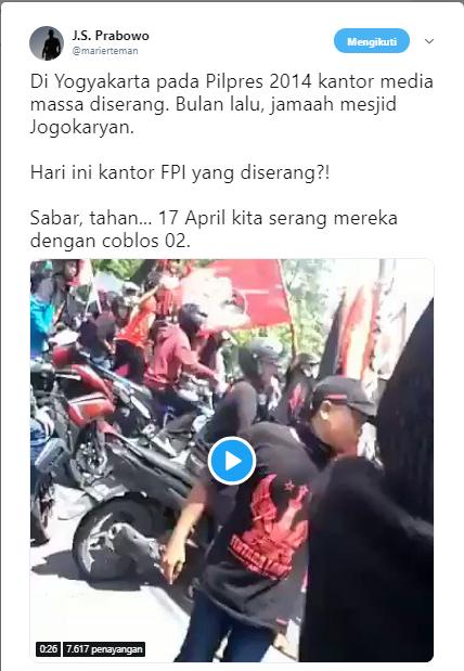 Massa PDIP Serang Kantor FPI Jogjakarta