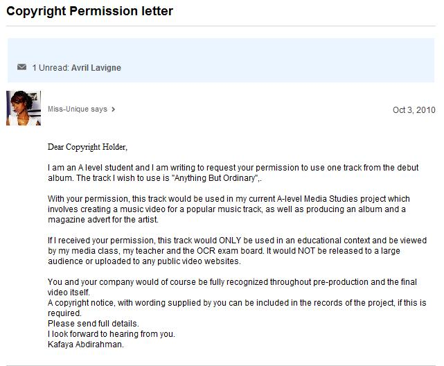 Future History Media Project: Copyright Permission letter