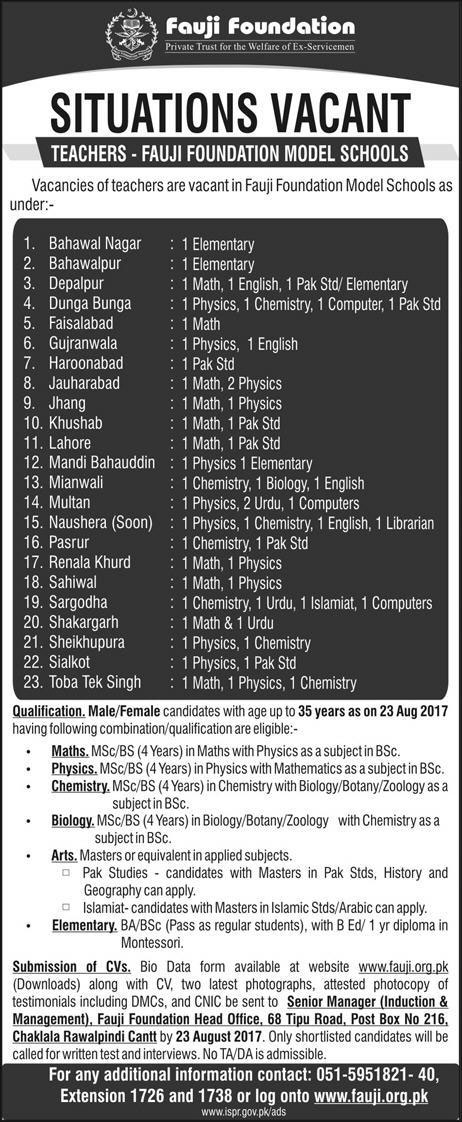 Teachers Jobs in Pakistan Fauji Foundation Model Schools 2017