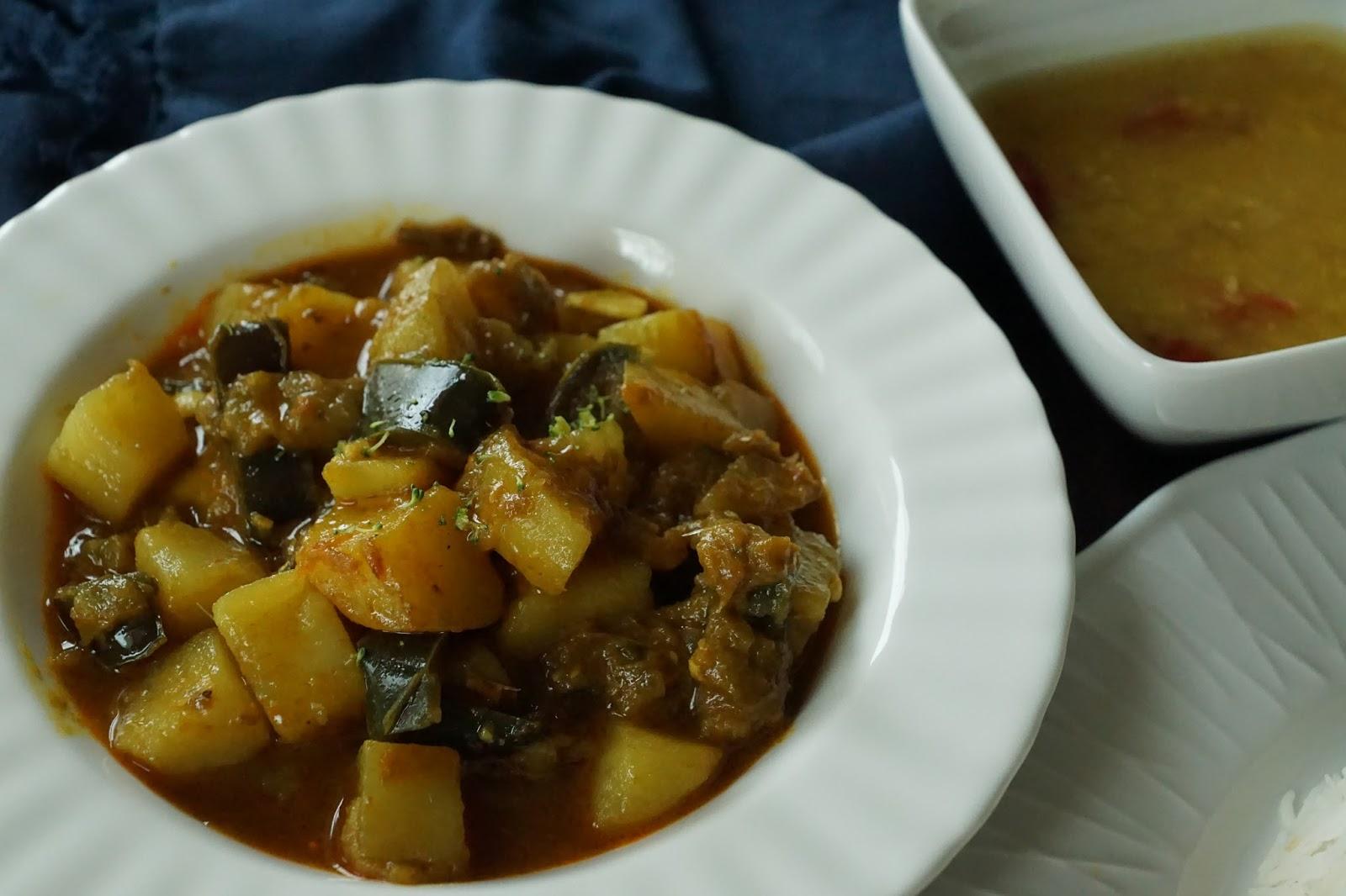 Bangladeshi dried fish with potato and eggplant (Begun alu diye