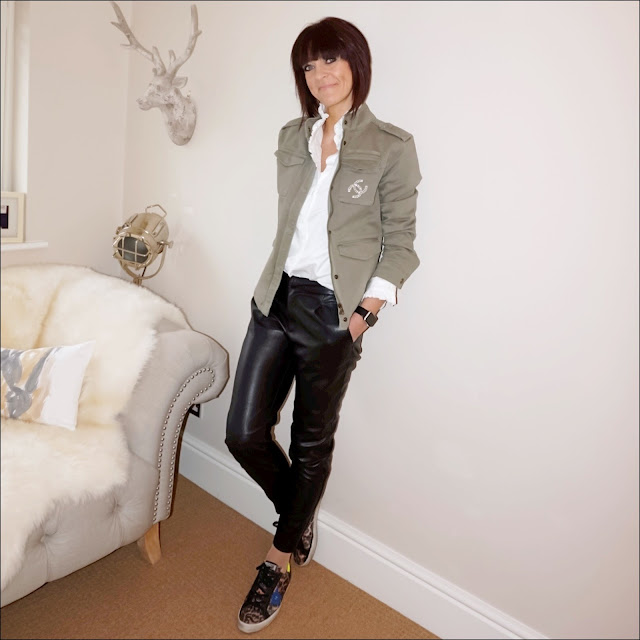 My Midlife Fashion, Hush military jacket, uniqlo high collar ruffle blouse, zara faux leather trousers, golden goose superstar trainers, leopard print trainers, chanel vintage brooch