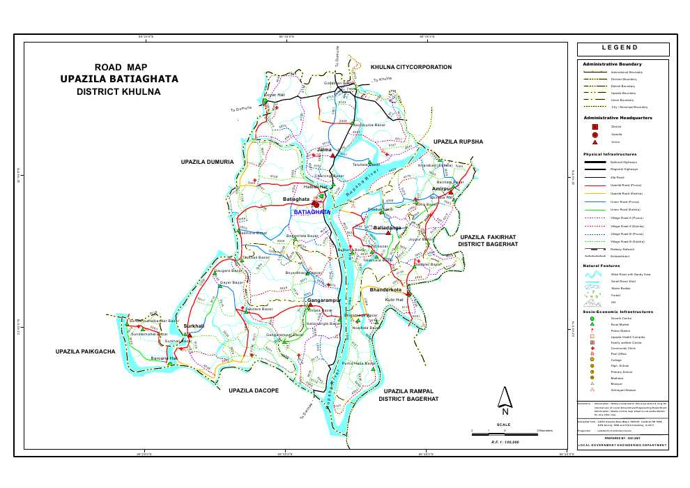 Batiaghata Upazila Road Map Khulna District Bangladesh
