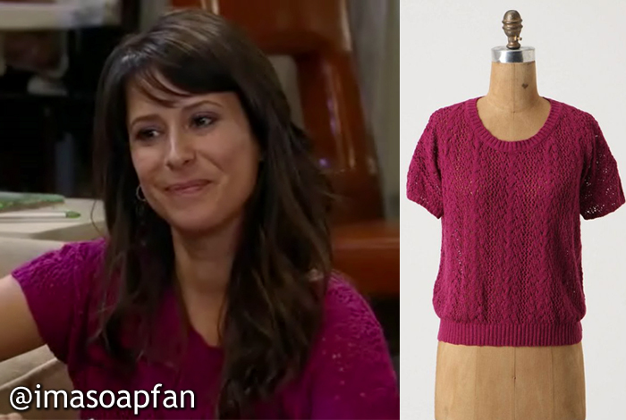 Robin Scorpio-Drake, Kimberly McCullough, Magenta Open Knit Sweater, Moth, Anthropologie, General Hospital, GH