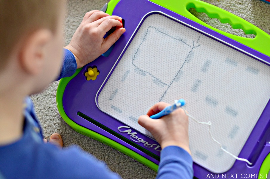 Tracing numbers on a Magna-Doodle from And Next Comes L