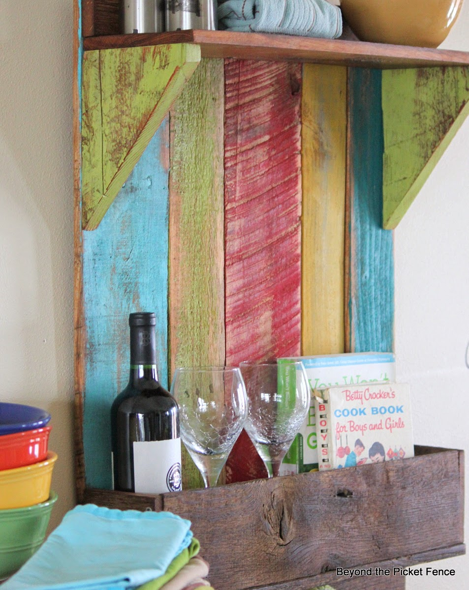 reclaimed wood shelf, kitchen shelf, rustic decor, farmhouse,http://www.beyondthepicket-fence.com/2014/04/junkers-unite-with-reclaimed-wood-shelf.html