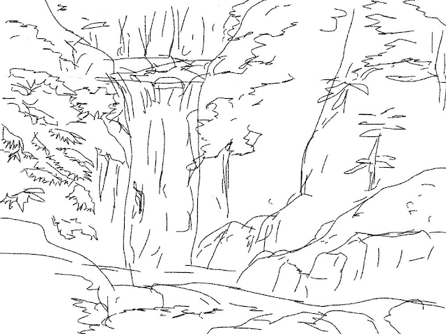 Gambar Mewarnai Pemandangan Air Terjun - 3