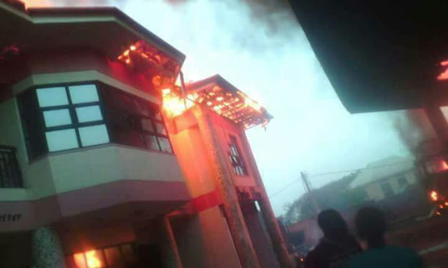 Tension in Kaduna Station Market as TonJos Petrol Station Got Fire (See Photos)