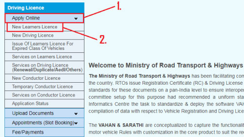 how to apply for driving license online in india