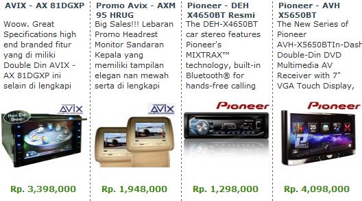 Harga Audio Mobil