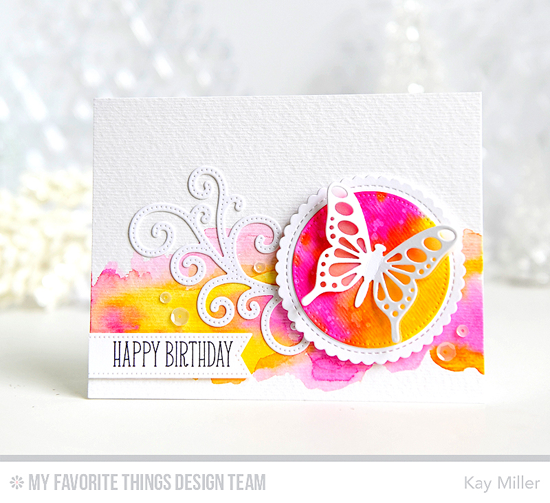 Handmade card from Kay Miller featuring Birdie Brown Adorable Butterflies stamp set, Flutter of Butterflies - Lace, Flutter of Butterflies - Solid, Stitched Fancy Flourish, Stitched Mini Scallop Circle STAX, and Pierced Circle STAX Die-namics #mftstamps