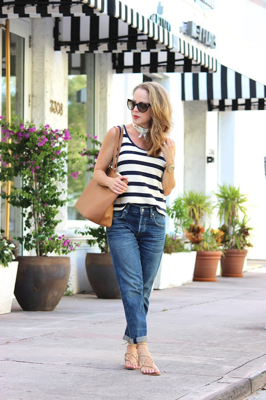 Navy and Cream Stripes