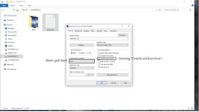 mengganti compression method menjadi best dan centang reate solid archive