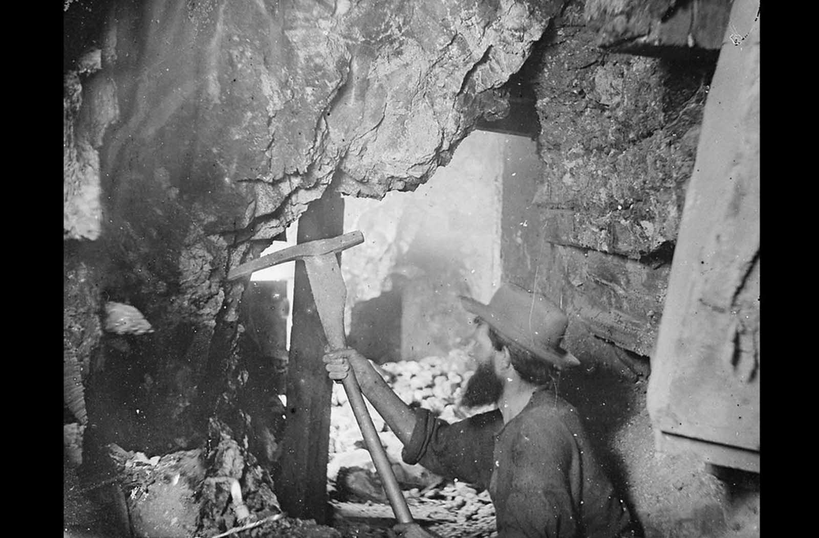 In 1867, O'Sullivan traveled to Virginia City, Nevada to document the activities at the Savage and the Gould and Curry mines on the Comstock Lode, the richest silver deposit in America. Working nine hundred feet underground, lit by an improvised flash -- a burning magnesium wire, O'Sullivan photographed the miners in tunnels, shafts, and lifts.