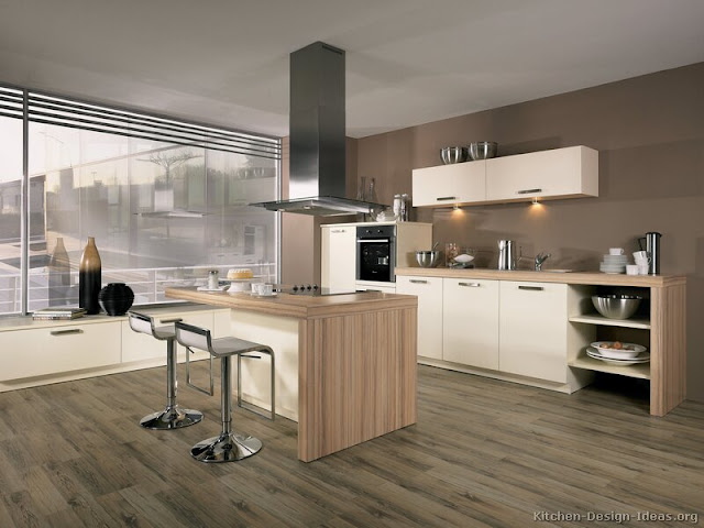 Contemporary wooden kitchen styles make your space look more beautiful Contemporary wooden kitchen styles make your space look more beautiful kitchen cabinets modern white 011 A033a wood countertop floor island hood seating tan walls
