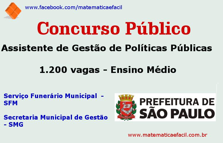 Concursos com 1.200 vagas na Prefeitura de São Paulo