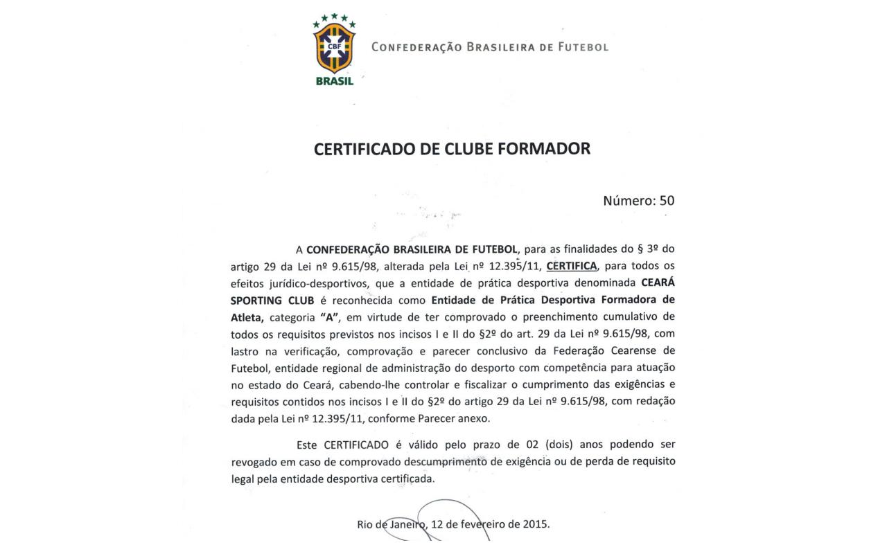 Mercado do Futebol  Ceará recebe da CBF certificado de Clube Formador db42a540fdb07