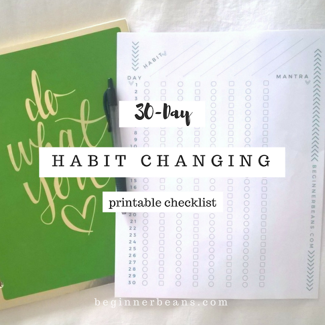 30 days to set new habits with a blank printable checklist