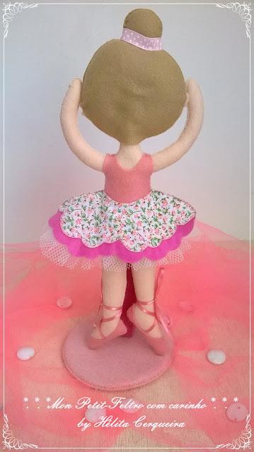 boneca-bailarina-ballet-decoração-aniversário-em feltro-sapatilha-doll-artesanato-handmade-felt-fieltro