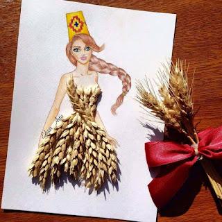رسمة للفنان إيدجر باستخدام القمح