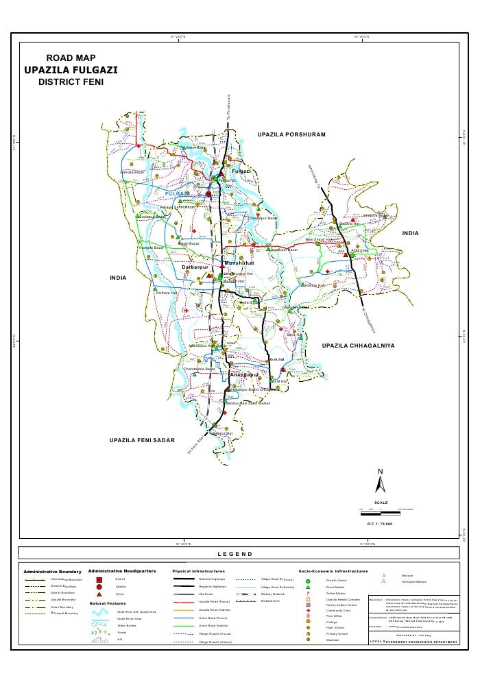 Fulgazi Upazila Road Map Feni District Bangladesh