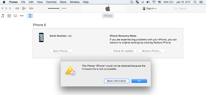 firmware not compatible iphone