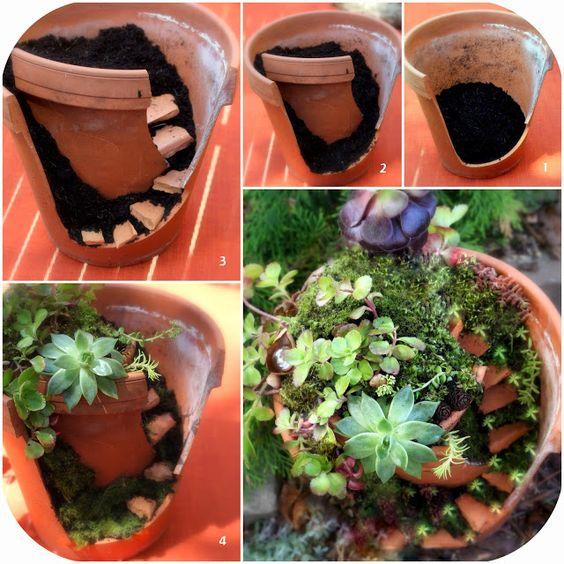 reciclando macetas de barro rotas podemos hacer bellos jardines en miniatura si quieres ver el tutorial paso a paso visita el siguiente enlace