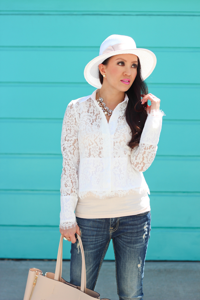Sheinside white lapel hollow crop lace blouse Vigoss distressed skinny jeans Ily Couture crystal pearl burst necklace white with pink ribbon straw fedora hat Ann Taylor pebbled signature tote BP luminate sandals