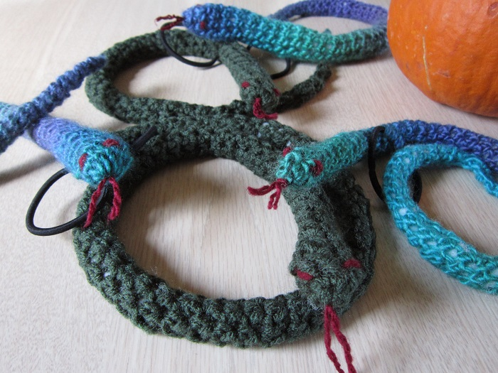crochet, snakes, Medusa, hairbands, Halloween