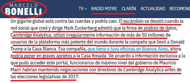 Clarín habla también de la denuncia facebook/macri en la campaña electoral