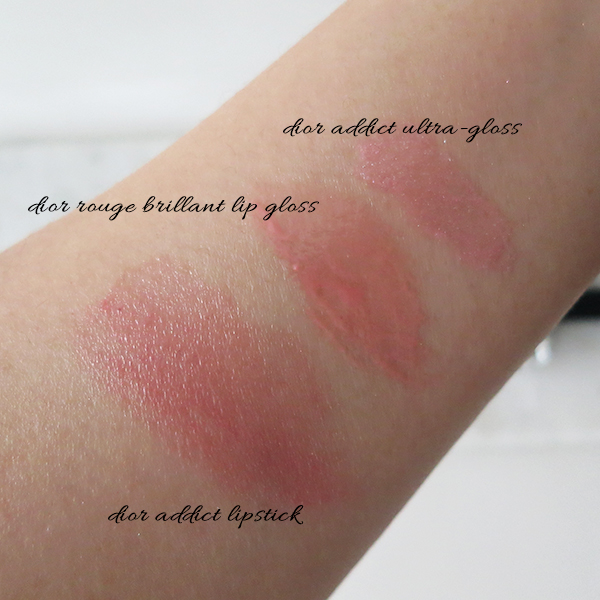 Dior Addict Ultra-Gloss swatch comparison to other Dior lip products