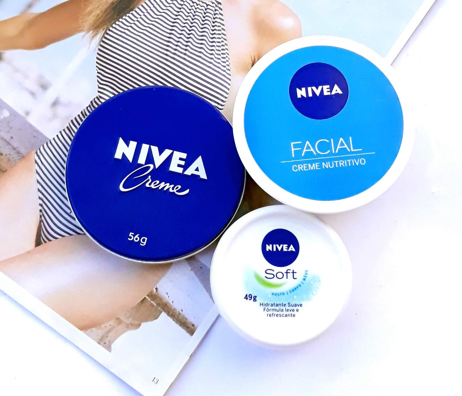 Nivea creme latinha azul, Nivea Soft e Nivea Facial Creme Nutritivo