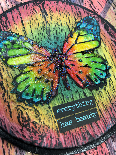 Canvas featuring Tim Holtz 3-D Texture Fades  - Lumbar and Butterfly Duo.
