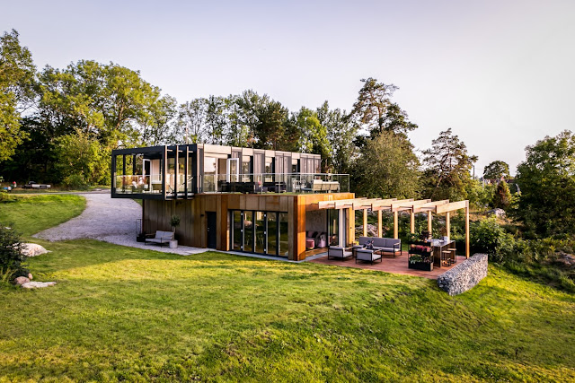 Shipping Container Homes Buildings Beautiful 4x40 Ft Shipping Container House With Internal Insulation And Double Skin Facade Sweden