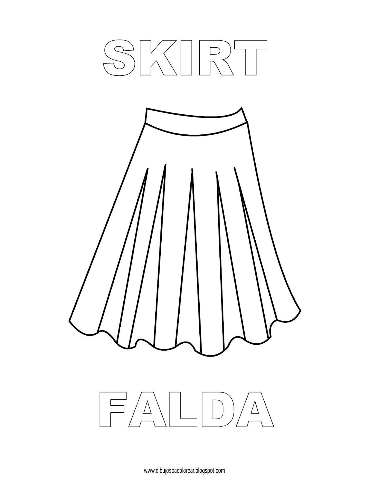 Dibujos Inglés Español Con F Falda Skirt Dibujospacolorear
