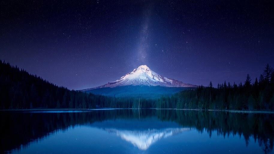 Mountain Landscape Lake Scenery Night Sky Stars 4k Wallpaper