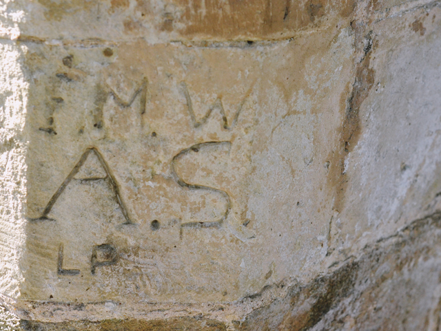 Carved graffiti at Waverley Abbey