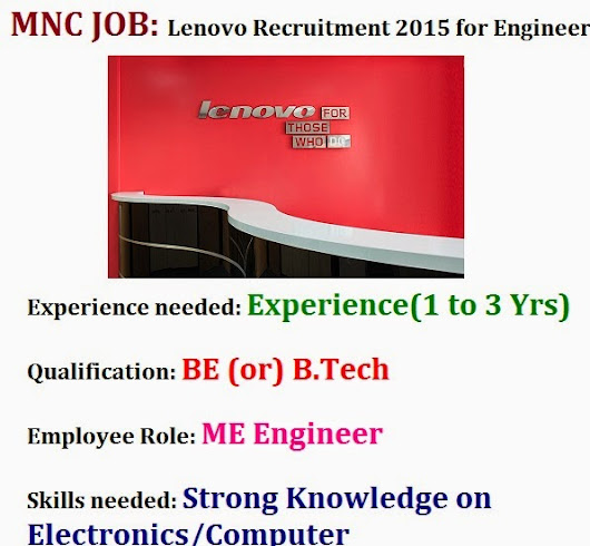 Lenovo Recruitment 2015 for Engineers