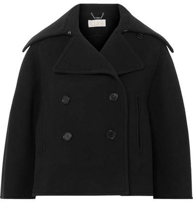 Chloé - Cropped Double-breasted Wool-blend Felt Coat – Navy
