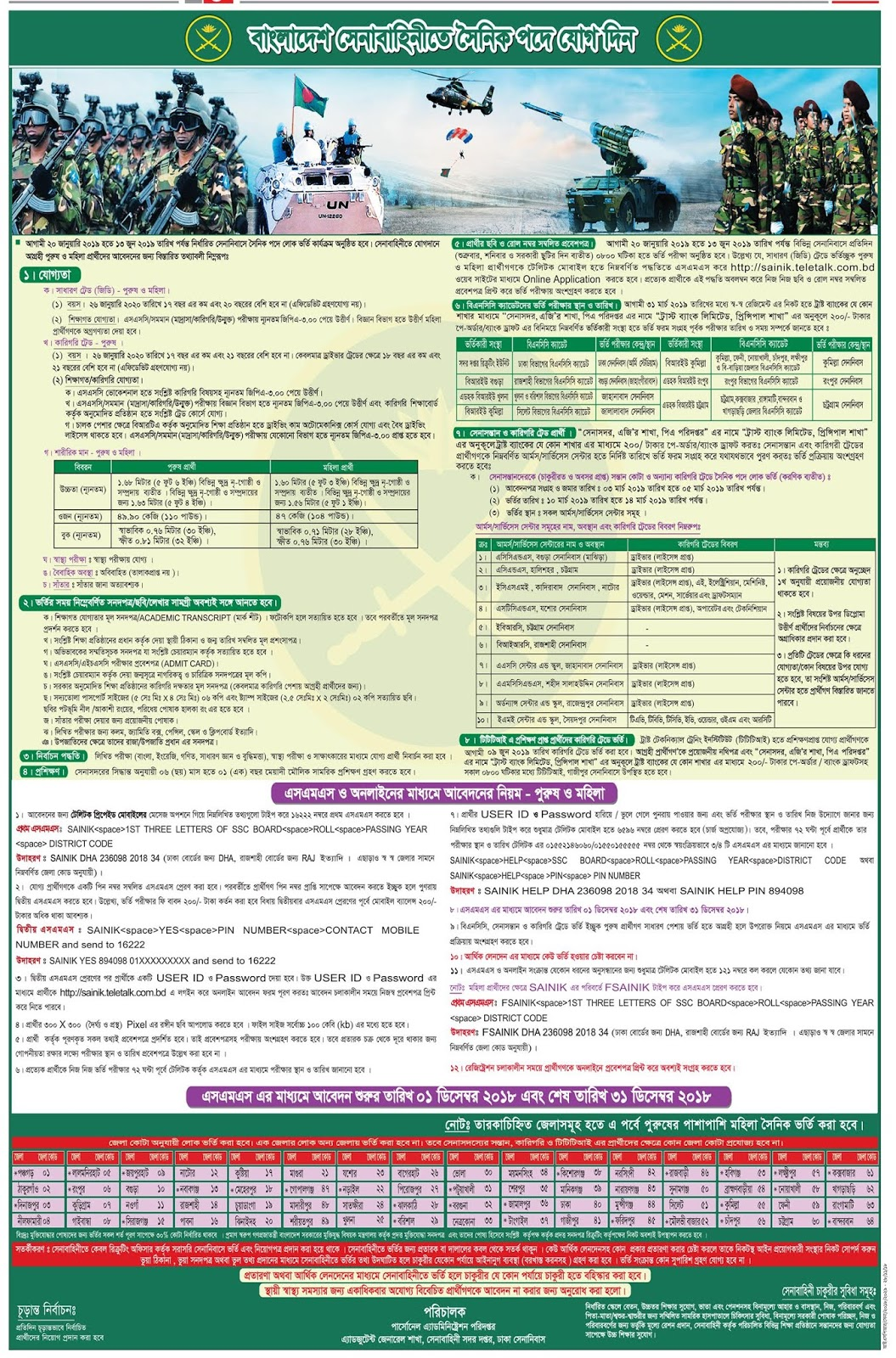 Bangladesh Army Soldier (সৈনিক)  Recruitment Circular 2018