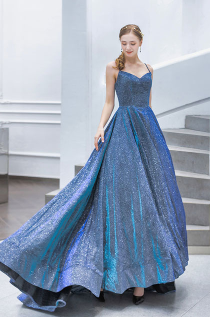 shining blue prom dress