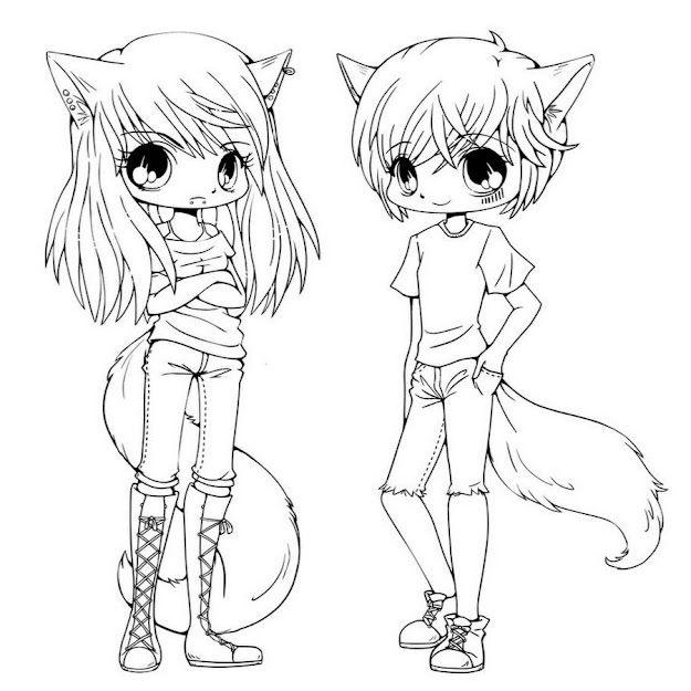 Cartoon Girl Cat Outline  Cartoon Cat And Girl Coloring