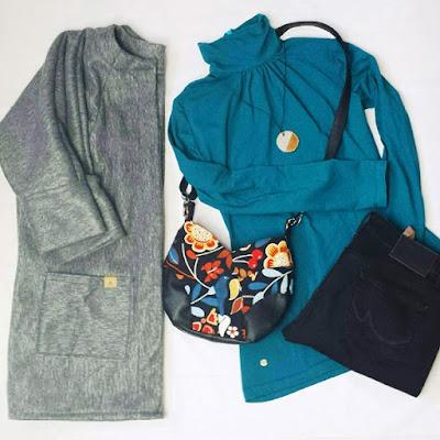Flatlay für #flatlayfridiy: Shirt Sore von Schnittqelle, Cardigan Frau Ava von Hedi näht und Tasche Tulipa von Lotte & Ludwig