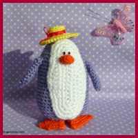 Pinguino con sombrero amigurumi