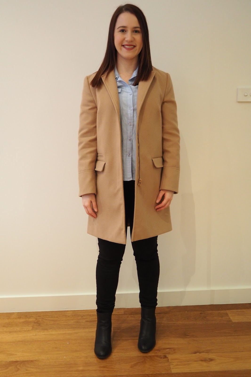 winter outfit, fall outfit, camel coat, black jeans, chambray shirt, black ankle boots