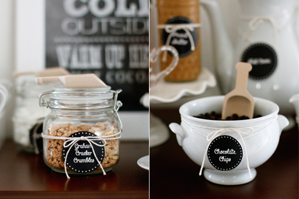 Graham cracker crumbles, chocolate chips & more toppings for a DIY hot coca bar