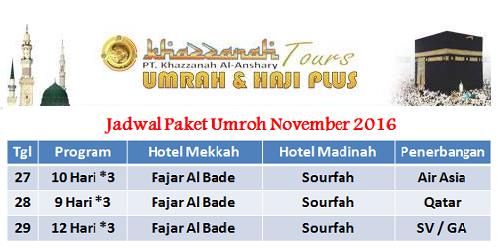 Jadwal Paket Umroh November 2016