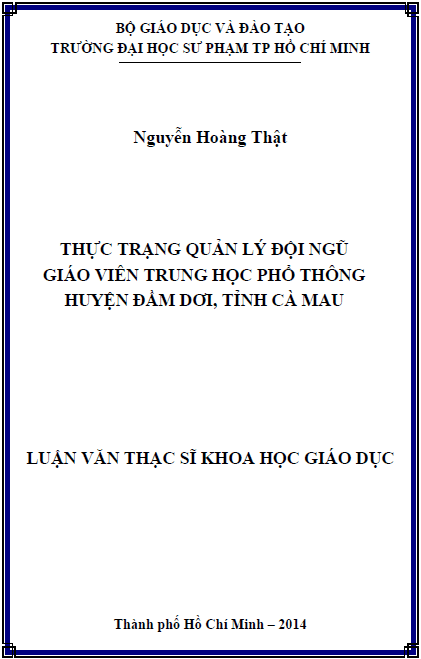 Thực trạng quản lý đội ngũ giáo viên trung học phổ thông huyện Đầm Dơi tỉnh Cà Mau