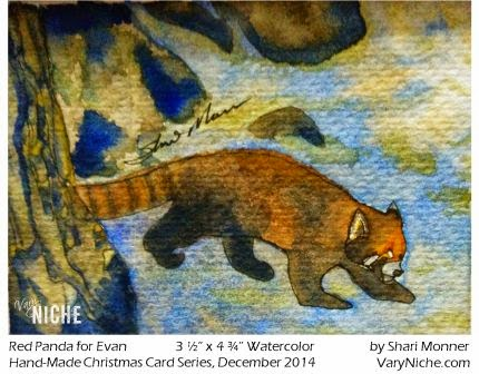 Watercolor Painting of Red Panda by Shari Monner, VaryNiche.com