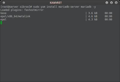 Install aplikasi mariadb di CentOS dengan perintah: